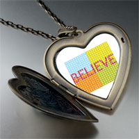 Necklace & Pendants - multicolored believe large heart locket pendant necklace Image.