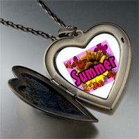 Necklace & Pendants - summertime flower by amber large heart locket pendant necklace Image.