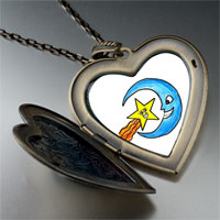 Necklace & Pendants - happy star moon by amber large heart locket pendant necklace Image.