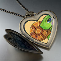 Necklace & Pendants - happy turtle by amber large heart locket pendant necklace Image.