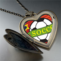 Necklace & Pendants - heart soccer sport large heart locket pendant necklace Image.