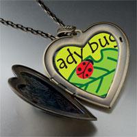 Necklace & Pendants - lady bug on leaf large heart locket pendant necklace Image.