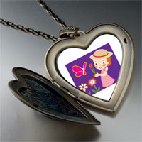 Necklace & Pendants - girl in garden large heart locket pendant necklace Image.
