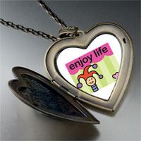 Necklace & Pendants - enjoy life joker large heart locket pendant necklace Image.