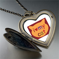 Necklace & Pendants - i heart cat large heart locket pendant necklace Image.