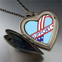Necklace & Pendants - support american ribbon large heart locket pendant necklace Image.