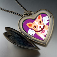 Necklace & Pendants - chihuahua dog heaven large heart locket pendant necklace Image.