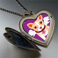 Necklace & Pendants - chihuahua dog heaven large heart locket pendant necklace Image.