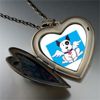 Necklace & Pendants - black white dog heaven large heart locket pendant necklace Image.