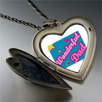 Necklace & Pendants - wonderful dad large heart locket pendant necklace Image.