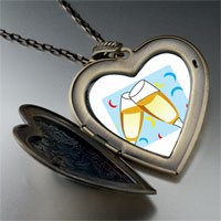 Necklace & Pendants - champagne celebration party large heart locket pendant necklace Image.