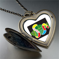 Necklace & Pendants - multicolored snake around fish large heart locket pendant necklace Image.