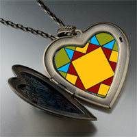 Necklace & Pendants - quiltwork patch large heart locket pendant necklace Image.