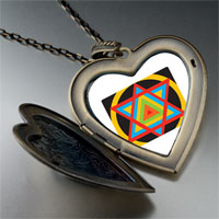 Necklace & Pendants - multicolored star of david large heart locket pendant necklace Image.