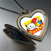 Necklace & Pendants - small cat kitten gatito large heart locket pendant necklace Image.