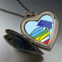 Necklace & Pendants - graduation books large heart locket pendant necklace Image.