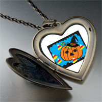 Necklace & Pendants - jack o lantern halloween pumpkin candy corn heart and flower pendant Image.
