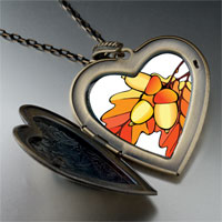 Necklace & Pendants - autumn fall acorn leaves large heart locket pendant necklace Image.