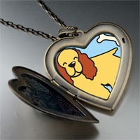 Necklace & Pendants - cocker spaniel dog yellow large heart locket pendant necklace Image.
