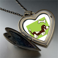 Necklace & Pendants - basset hound dog brown large heart locket pendant necklace Image.