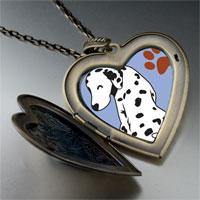 Necklace & Pendants - grin dalmatian dog large heart locket pendant necklace Image.