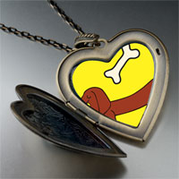 Necklace & Pendants - dachshund dog bone large heart locket pendant necklace Image.