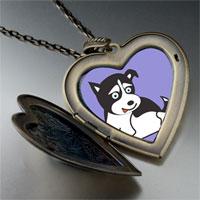 Necklace & Pendants - alaskan husky dog large heart locket pendant necklace Image.