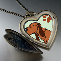 Necklace & Pendants - blood hound dog large heart locket pendant necklace Image.
