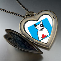 Necklace & Pendants - bull terrier dog large heart locket pendant necklace Image.