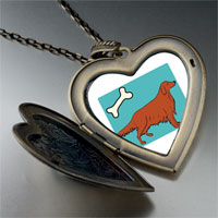Necklace & Pendants - irish setter dog large heart locket pendant necklace Image.