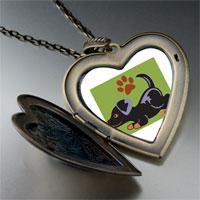 Necklace & Pendants - rottweiler black large heart locket pendant necklace Image.