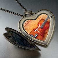 Necklace & Pendants - violin music large heart locket pendant necklace Image.