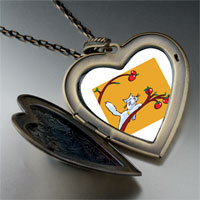 Necklace & Pendants - cat plays apples large heart locket pendant necklace Image.