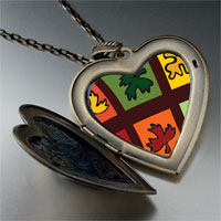 Necklace & Pendants - multicolored autumn leaves large heart locket pendant necklace Image.