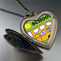 Necklace & Pendants - fun school bus large heart locket pendant necklace Image.