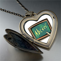 Necklace & Pendants - alphabet chalkboard large heart locket pendant necklace Image.