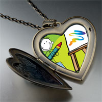 Necklace & Pendants - drawing painting large heart locket pendant necklace Image.