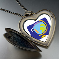 Necklace & Pendants - globe map large heart locket pendant necklace Image.