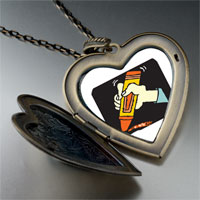 Necklace & Pendants - marker drawing large heart locket pendant necklace Image.