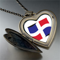 Necklace & Pendants - dominica flag large heart locket pendant necklace Image.