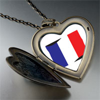 Necklace & Pendants - france flag large heart locket pendant necklace Image.