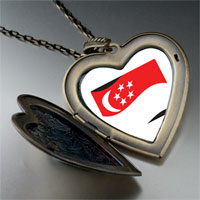 Necklace & Pendants - singapore flag large heart locket pendant necklace Image.