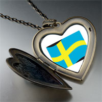 Necklace & Pendants - sweden flag large heart locket pendant necklace Image.