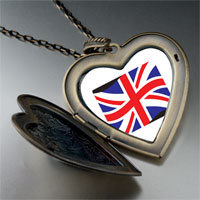 Necklace & Pendants - united kingdom flag large heart locket pendant necklace Image.