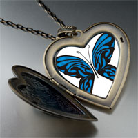 Necklace & Pendants - exotic blue butterfly large heart locket pendant necklace Image.