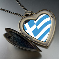 Necklace & Pendants - greece flag large heart locket pendant necklace Image.