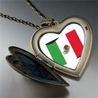 Necklace & Pendants - mexico flag large heart locket pendant necklace Image.