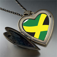 Necklace & Pendants - jamaica flag large heart locket pendant necklace Image.