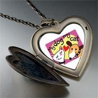 Necklace & Pendants - dog loves cat photo large heart locket pendant necklace Image.