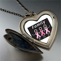 Necklace & Pendants - family pink ribbon large heart locket pendant necklace Image.